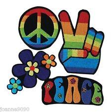 4 Hippy Hippie 60s 70s Rainbow Fancy Dress Peace Applique Iron On Patches Badges
