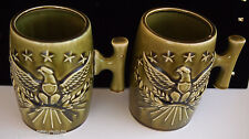Vintage American Eagle & Stars Emblem Americana Tan Mugs lot of 2 Made in Japan