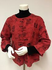 CHICO'S Jacket Top Ethnic WEARABLE ART Rose Red Size 2   Sz L  12