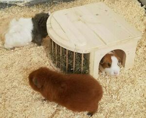 Meerschweinchenhaus Kleintierhaus mit Heuraufe Meerschweinchenhäuschen 80022