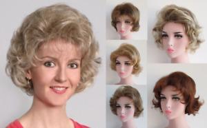 50'S WOMENS OLD LADY SHORT WAVY CURLY SHAG WIG GOLDEN GIRLS ROSE BETTY BARBARA