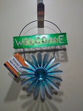 Hanging Decor Metal Welcome Sign Plaque With Blue Flower and Plastic Bling Stone