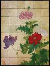 24x32 Opium Poppy Backsplash Mural Tumbled Marble Tiles Kitchen Ideas Bing Yun