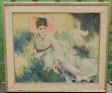 Beautiful Antique/Vintage Oil Painting Victorian Lady and Child On Canvas