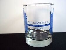 Williamsburg Virginia ouvenir round shot glass Kings Arms Josiah Chowning blue