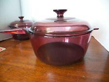 Vintage Pyrex Vision Cranberry 2.5 L Glass Saucepan With Spout & Lid
