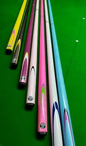 Neon Brights Pool Snooker Graphite Cue Choice of Colours FREE CASE