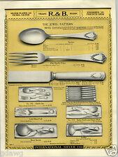 1924 PAPER AD 2 Sided R&B R & B  Silverware Jewel Design Pattern COLOR