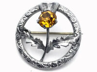 Vintage SMALL Silver Tone Scottish CITRINE Paste Stone Mizpah Brooch GIFT BOXED