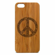 Peace Sign Case for iPhone 6 Plus iPhone 6S Plus Bamboo Wood Cover Hippie Chic