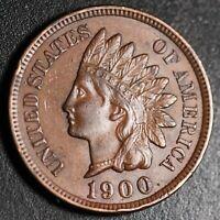 1900 INDIAN HEAD CENT - With LIBERTY & Near 4 DIAMONDS - AU UNC