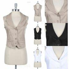 Halterneck Solid Four Front Buttons V Neck Vest Fake Pockets and Wide Collar