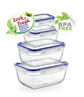 Food Storage Container (Pack of 4) BPA Free Rectangle Silicone Seal %100Airtight