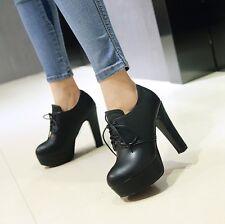 Womens Fashion High Heels Round Toe Lace up Platform Pumps Shoes UK 1--12 C115