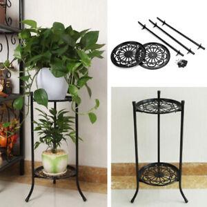 2 Tier Metal Plant Pot Stand Holder Flower Display Shelf Garden Indoor Outdoor