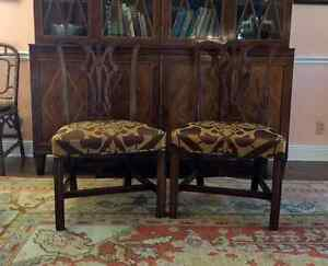 Pair of George III Carved Mahogany Chippendale Design Side Chairs, Antiques