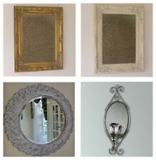 Mirror Vintage Wall Mounted Bevelled Carved Effect Resin Shabby Frame White Gold