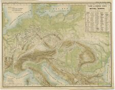 Antique Map of the Rivers and Mountains of Europe by Kiepert (c.1870)
