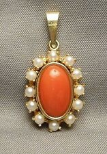 1960s Italian Pendant - 14K Gold Oval & Orange Coral Cabochon Framed in Pearls