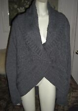 Peruvian Connection Gray Chunky Cable Knit Alpaca Blend Sweater L NWOT