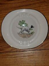 Ceramic/Porcelain Hunting English Setter Dog Ashtray Gold Accents Ad Promo