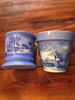 Currier & Ives Collectible Homestead in Winter Shaving Mug and Plant Pot