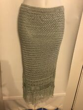Cache Size Small Gorgeous Crochet & Beaded Lined Powder Blue Vintage Knit Skirt