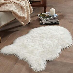 Sheepskin Rug Faux Fur Rug - Fluffy Small White Shag Fur Rug for Photography 2x3