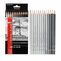 Pacific Arc Artist Graphite Pencils, Set of 12 (12B-2H and 6B-6H)