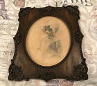 "Vintage R. Hendrickson Wood Carved Frame Doll Girl Print 11.5""x13.5"""
