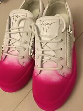 Mens Giuseppe Zanotti Leather Two-Tone Flocked Sneakers Pink/White 43.5/us 10