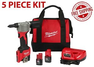 Milwaukee 2550-22 M12 Rivet Tool With 2 Batteries & Charger Kit Free Shipping
