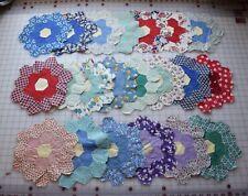 7397  30 antique 1930's Grandmother's Flower Garden quilt blocks, great prints!