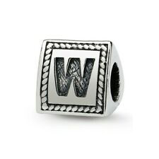 Letter W Triangle Block Bead .925 Sterling Silver Antiqued Reflection Beads