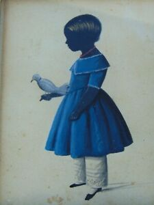 c.1830 - ANTIQUE PAINTED FOLK ART SILHOUETTE