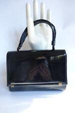 Vintage 1960s Black Patent Handbag Pocketbook Purse Petite Small MOD Era Ex Cond