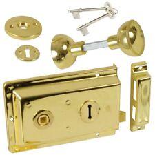 TRADITIONAL BRASS DOOR SASH BOLT + KNOBS Door Shed/Gate Rim Lock Latch/Catch