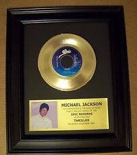 Michael Jackson THRILLER Gold 45 rpm Record + Mini Album Sleeve Not a Award