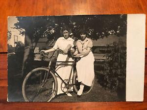 RARE ANTIQUE TOC WOOD RIM BICYCLE PHOTOGRAPH 1900 Bike Original Postcard Bike