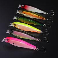 6pcs Lot Minnow Wobbler Fishing Lure CrankBait Plastic Bait Bass Tackle 8cm/7.5g