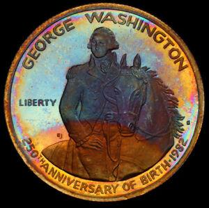 1982-S Washington Silver Half Dollar, PCGS Secure- Rainbow Toned Details Proof
