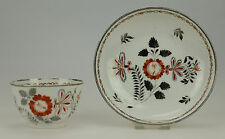 ANTIQUE EARLY 19thC SILVER LUSTRE PEARLWARE TEA BOWL & SAUCER