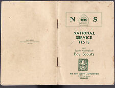 NATIONAL SERVICE TESTS FOR BOY SCOUTS : SOUTH AUSTRALIA  c1940'S scouting   lo