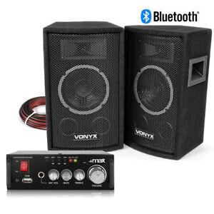 """HiFi Speakers and Stereo Amplifier with Bluetooth USB 6"""" Home Audio Music System"""