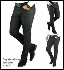 Jeans da uomo elasticizzato slim fit skinny nero pantaloni a vita bassa aderente