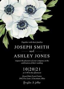 Black White Green Floral Anenome Wedding Invitations 50