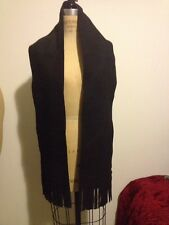 Black Leather Suede Fringe Scarf Wrap Shawl Cowboy Boho Chic Hippie Festival