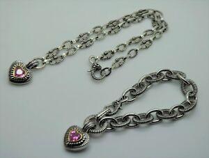 Unique Designer Heart shared Pendant  Necklace & Bracelet Jewelry Fashion  Set