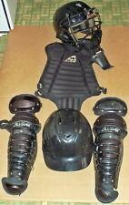 Complete Allstar Youth Size Catcher Protective Gear Baseball Black Intermediate