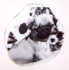 Glasvase Prinz Mops Glas Vase Hund Mops Deko Blumenvase Mario Moreno Neu OVP